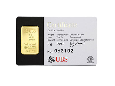 UBS Kinebar Gold Bullion Bar - 5 Gram